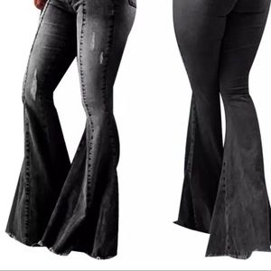 no brand juat style Pants & Jumpsuits - NWT- Super Flared Black Elastic Waist Pants/Jeans